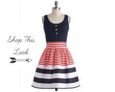 Red White Blue Strip Bridesmaid Dress