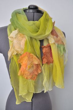 Nuno Felted Scarf Spring Day-- made to order