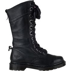 DR. MARTENSTriumph-1914 Tall Boot Black Leather (520 BRL) ❤ liked on Polyvore featuring shoes, boots, black leather, mid-calf boots, genuine leather boots, mid calf boots, black buckle boots, black shoes and tall leather boots