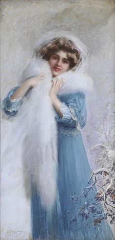 Victorian lady by Delphin Enjolras Images Vintage, Vintage Pictures, Vintage Postcards, Victorian Women, Victorian Art, Blue Christmas, Christmas Post, Merry Christmas, Vintage Christmas Cards