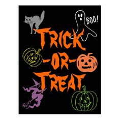 Trick or treat halloween invitation glowing text halloween trick or treat halloween pumpkin ghost witch postcard stopboris Images