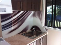 Printed Glass Splashback - Abstract Design for residential laundry. Created, Printed & Installed by Seein. Printed Glass Splashbacks, Glass Design, Laundry Room, Abstract, Kitchen, Prints, House, Summary, Cooking