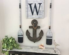set rustic beach house decor Wood Nautical Decor Oar decor Whale decor Nautical decor Nautical nursery - My Home Decor Nautical Bathroom Design Ideas, Nautical Bathrooms, Nautical Nursery, Nautical Home, Bathroom Beach, Nursery Art, Nautical Interior, Nautical Signs, Coastal Interior