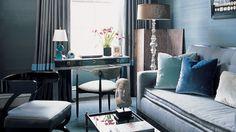 blues, clear floor lamp