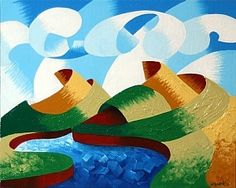 Rough Futurist Landscape Oil Painting by Northern California Artist Mark Webster