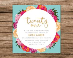 Printed Floral 21st Birthday Invitation 125 X by MelonInvitations