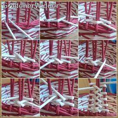 GoldenerWidder   ВКонтакте Newspaper Basket, Newspaper Crafts, Paper Weaving, Hand Weaving, Diy And Crafts, Crafts For Kids, Basket Drawers, Rattan Basket, Cardboard Crafts