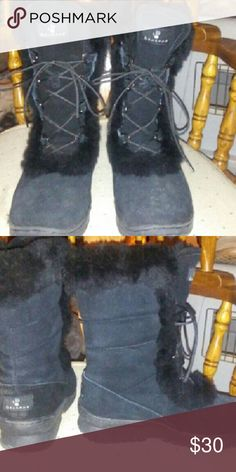 New Black BEARPAW womans boots size 7 BEARPAW black suede boots womans size 7 never worn. BearPaw Shoes Lace Up Boots