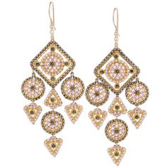 MIGUEL ASES Diamond Bead Dangle Drop Earrings