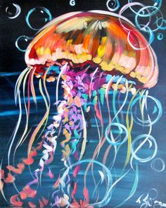 Sea Life Art, Sea Art, Jellyfish Painting, Jellyfish Drawing, Jellyfish Aquarium, Blue Jellyfish, Fish Drawings, Art Drawings, Sidewalk Chalk Art