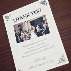 Sarah Alexis Stationery: Vintage Script Thank You Postcard in Black and Cream