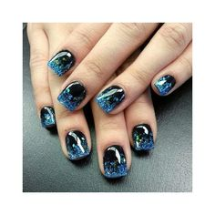 50 Stunning Acrylic Nail Ideas to Express Your Personality Acrylic manicures, dip powder nails, and gel manicures are just a few of the artificial nails designs that women love. Acrylic nails are a form of fake nails that are . Glitter Nails, Gel Nails, Nail Polish, Blue Glitter, Coffin Nails, Nail Nail, Short Nail Designs, Cute Nail Designs, Awesome Designs