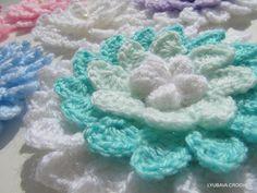 Crochet 3D Flower Tutorial Pattern, Beautiful Crochet Aster Flower PDF, Instant Download Lyubava Crochet Pattern 21, via Etsy.
