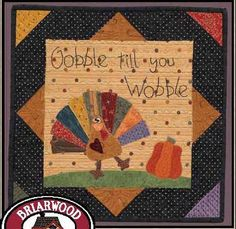 Primitive Quilt Folk Art Pattern Gobble Till by PrimitiveQuilting Fall Sewing Projects, Small Quilt Projects, Quilting Projects, Quilting Tips, Bird Quilt, Rag Quilt, Primitive Quilts, Fall Quilts, Quilted Wall Hangings