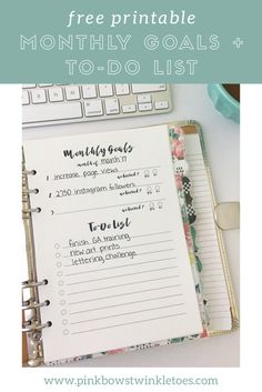 Free monthly goals + to-do list productivity printable - planner printable for A5 planners, mini binders, and mini happy planners - free printable planner instant download