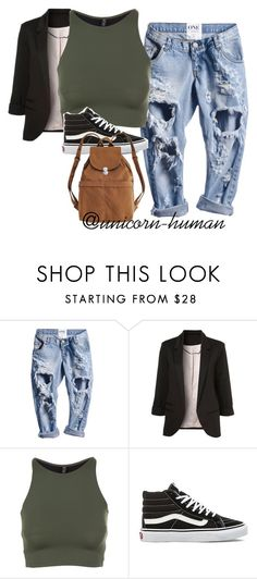 """""""Untitled #1781"""" by unicorn-human ❤ liked on Polyvore featuring Onzie, Vans and BAGGU"""
