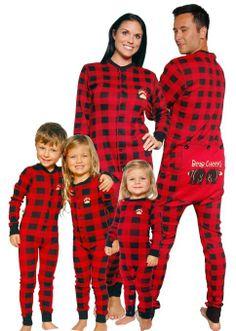 fae53c7176bd Bear Cheeks Lazy One Adult Red   Black Plaid Flapjack Family Matching  Pajamas