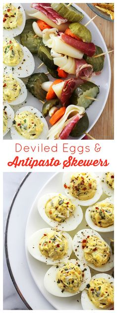 Deviled Eggs and Antipasto Skewers | www.diethood.com | Delicious, crowd-pleasing appetizers!