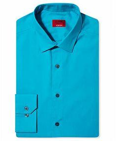 $19.99 - Alfani Dress Shirt, Slim-Fit Spectrum Solid Long Sleeve Shirt