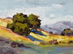 OAK TREES, TOM BROWN 6x8 CALIFORNIA IMPRESSIONIST PLEIN AIR, painting by artist Tom Brown
