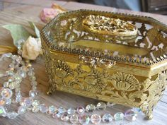 Jewelry Casket   Gold Filigree Beveled Glass  24kt by TanaBarisoff, $44.00