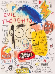 Typography in fine art: 100 exciting examples you can acquire. Typography in fine art: 100 exciting Jean Basquiat, Jean Michel Basquiat Art, Basquiat Paintings, Basquiat Artist, Graffiti, Neo Expressionism, Illustration Art, Illustrations, Painting Art