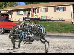Boston Dynamics Military Robots What CBC News did not mention two nights ago, these robots come equip with weapons already for the Military use  https://www.youtube.com/watch?v=5FFkDV2NKEY