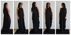 Black long loose dress / Maxi Dress / Extravagant Long Dress / Daywear Dress / Casual Dress / Maxi Top / Asymmetric Kaftan by ClothesByLockerRoom on Etsy https://www.etsy.com/uk/listing/239916188/black-long-loose-dress-maxi-dress