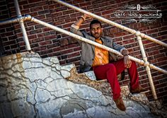 Daft Designworks, Ellettsville, Indiana, www.daftdesignwor..., Senior, Portraits, Boy, Photography, HighSchool, Steps, Concrete, Brick, Wall, Urban, Fashion, and Red.