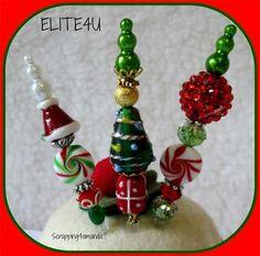 christmas stick pin | ELITE4U KAM Handmade Christmas Hat Stick Pin Embellishment Premade ...