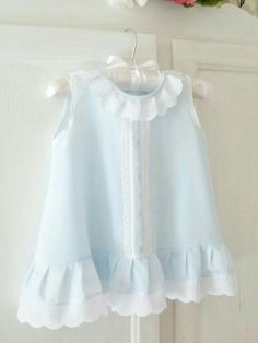 3 to 6 Month Blue Batiste Baby Dress - Ready-To-Ship Baby Outfits, Little Dresses, Little Girl Dresses, Kids Outfits, Girls Dresses, Flower Girl Dresses, Summer Dresses, Dress Girl, Vintage Baby Dresses