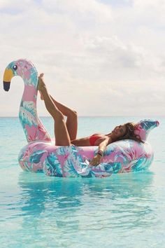Summer Brights palm beach chic, palm pink flamingo floatie, raft, float
