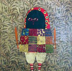 Gustavo Oritz creates these wonderful paintings on wood and canvas which were shown at the Pure Evil Gallery in East London. Influenced by colonial art as