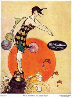 "Marjory C. Woodbury, McCallum Hosiery, 1917 From Taschen's ""All-American Ads 1900-1919"".    Beautiful Century blog"