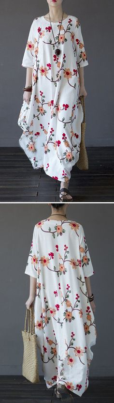 US$ 29.48 Vintage Floral Embroidered Irregular Half Sleeve O-neck Women Maxi Dress