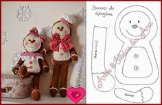 ginger bread man and girl Gingerbread Decorations, Gingerbread Ornaments, Christmas Gingerbread, Xmas Ornaments, Felt Christmas, Christmas Decorations, Holiday Decor, Christmas Projects, Felt Crafts