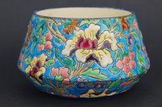 Antique Enamelled French Faience EMAUX de LONGWY Turquoise BOWL/VASE   eBay
