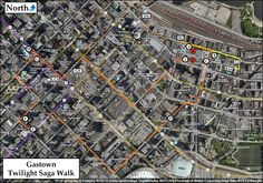 There are 6 Twilight Saga film sites to visit in Vancouver's Gastown and Downtown areas.  Our Vancouver, BC Twilight Saga Maps PDF is posted in the TWITIPS & MAPS directory of TTTS Book 2's webpage: http://tourthetwilightsaga.com/vancouver-british-columbia/