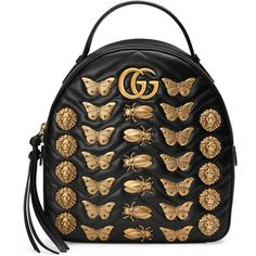 Gucci Gg Marmont Animals Studs Leather Backpack ($2,130) ❤ liked on Polyvore featuring bags, backpacks, black, handbags, women, chevron print backpack, studded backpack, gucci, leather zip backpack and leather bags