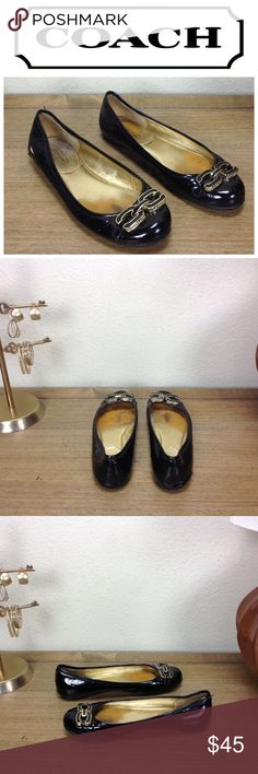 Coach Black Patent Leather Ballet Flat Black patent leather ballet flats with black and gold CC logo on toe.  In good used condition with some wear at the heels and fading of the insole as well as a small mark on the side but otherwise in good condition.  Thanks for your interest!  Please checkout the rest of my closet. Coach Shoes Flats & Loafers