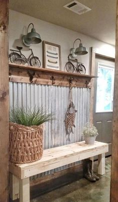 48 Amazing Farmhouse Entryway Mudroom Design Ideas - Farmhouse Decor - Make Up Hacks - Wire Wrapped Jewelry - Wedding Hairstyle - Best Home Decor Ideas Farm House Living Room, Corrugated Metal Wall, Mudroom Design, Home Decor, Concrete Stained Floors, Rustic Living Room, Farmhouse Mudroom, Rustic Farmhouse Entryway, Rustic House