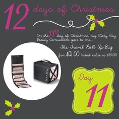 On The First Day of Christmas my Mary Kay Consultant gave to me the Travel Roll Up Bag!!!  Jennifer Emanuel, Mary Kay Sales Director, www.marykay.com/jennemanuel, www.facebook.com/jenniferemanuelmk, Call/Text; 214-405-2512, Email: jennemanuel@sbcglobal.net
