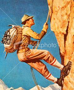 Man Climbing Mountain Royalty Free Stock Photo