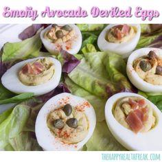 Smoky Avocado Deviled Eggs ~ www.thehappyhealthfreak.com ~ #Easter #eggs #protein #lowcarb #keto