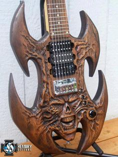 Iron Maiden Eddie custom carved electric art guitar