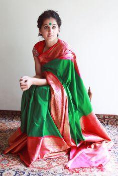 Tapsee Pannu wearing Gaurang Shah Green Kanjivaram Saree with Bright Pink Border paired with embroidered sleeves. Kanjivaram Sarees, Silk Sarees, Ethnic Sarees, Indian Attire, Indian Wear, Saris, Ethnic Fashion, Indian Fashion, Indian Dresses