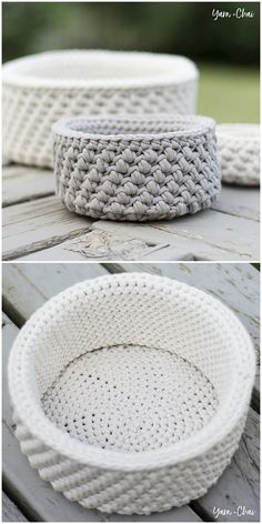 Mini Nesting Baskets Free Crochet Pattern Merino Wool Blanket, Free Crochet, Basket, Crochet Patterns, Knitting, Bed, Tricot, Stream Bed, All Free Crochet