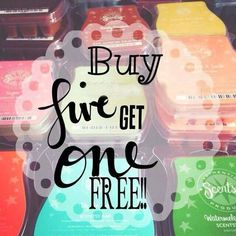 No matter when you buy with scentsy bars it is always buy five get one free!! http://madikgraham.scentsy.us