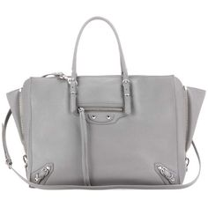 Balenciaga Papier B4 Zip-Around Leather Shoulder Bag ($2,080) ❤ liked on Polyvore featuring bags, handbags, shoulder bags, grey, grey leather shoulder bag, balenciaga handbags, leather purses, gray purse and gray leather purse