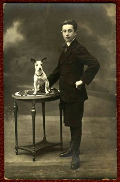 Vintage Doggy: Youngman and his adorable Jack Russell terrier
